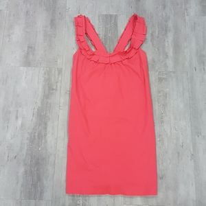 Anthropology fei rose red cotton dress
